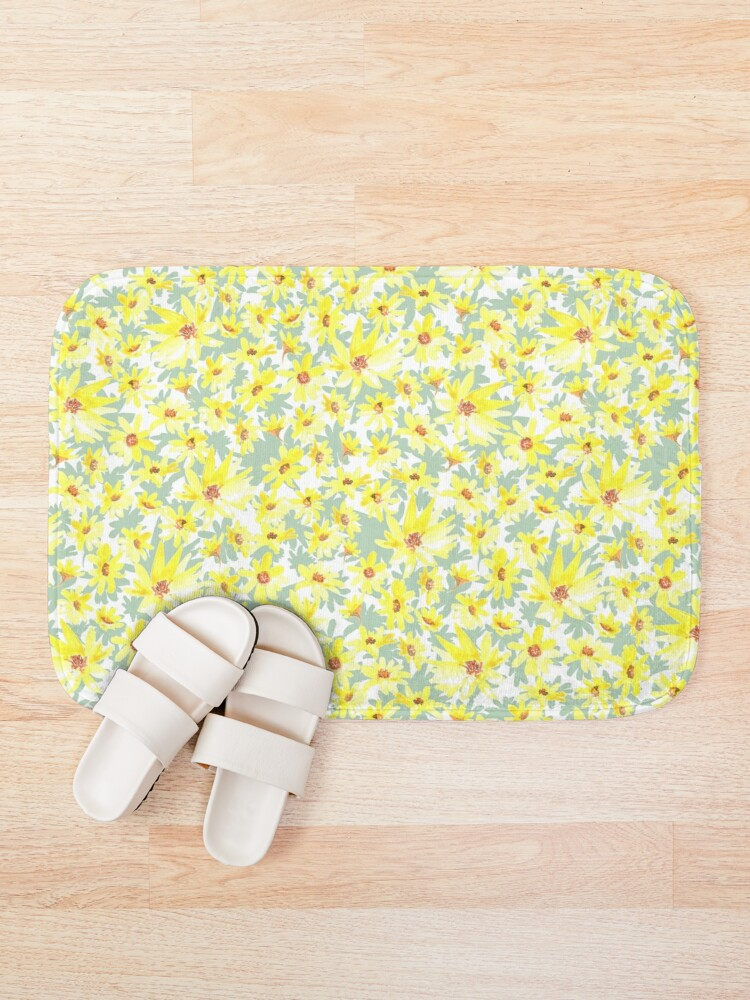 yelow flower bath mat