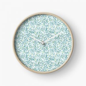 blue leaf lovliness clock