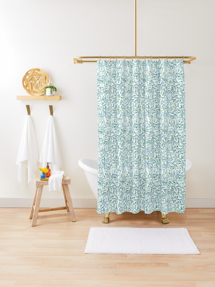 blue leaf loveliness shower curtain