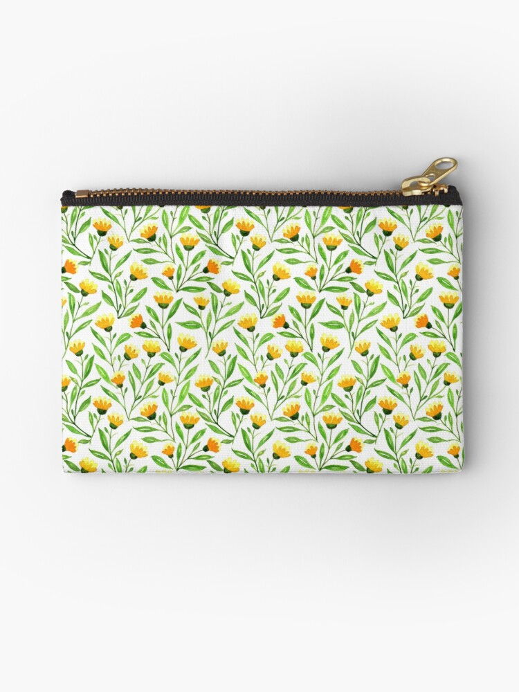 zipper pouch yellow meadow