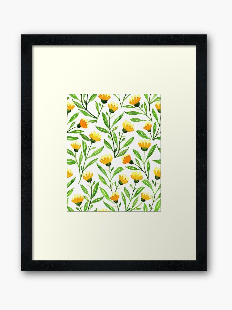 yellow meadow flowers framed art