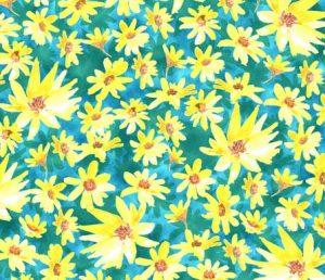 yellow-prairie dock flowers fabric design