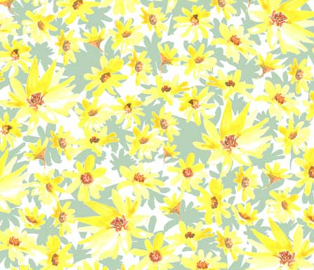 yellow prairie flowers fabric design