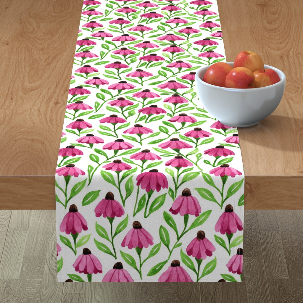 cone flowers table runner