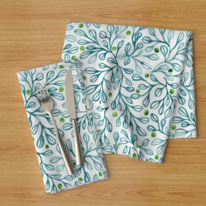 blue foliage napkins