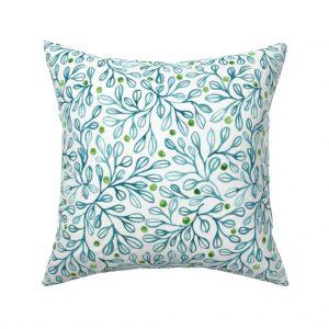 blue foliage throw pillow
