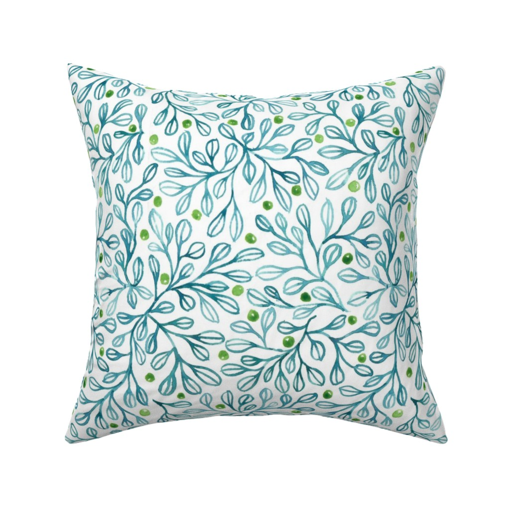blue foliage throw pillow