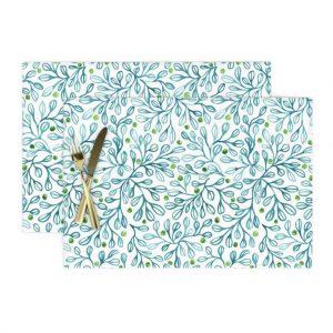 blue foliage place mat