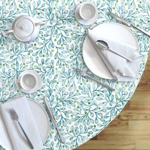 blue foliage table cloth