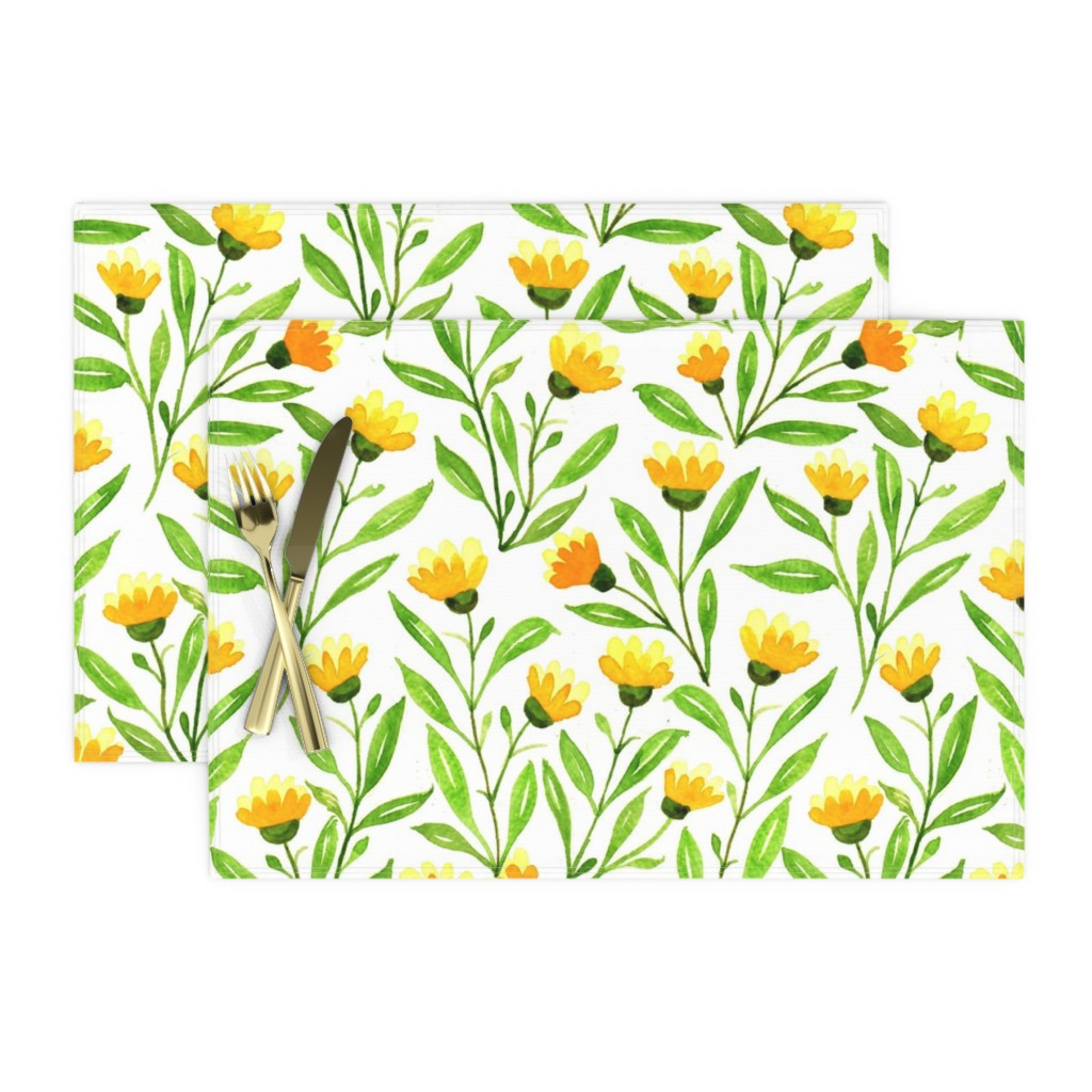 yellow meadow place mats