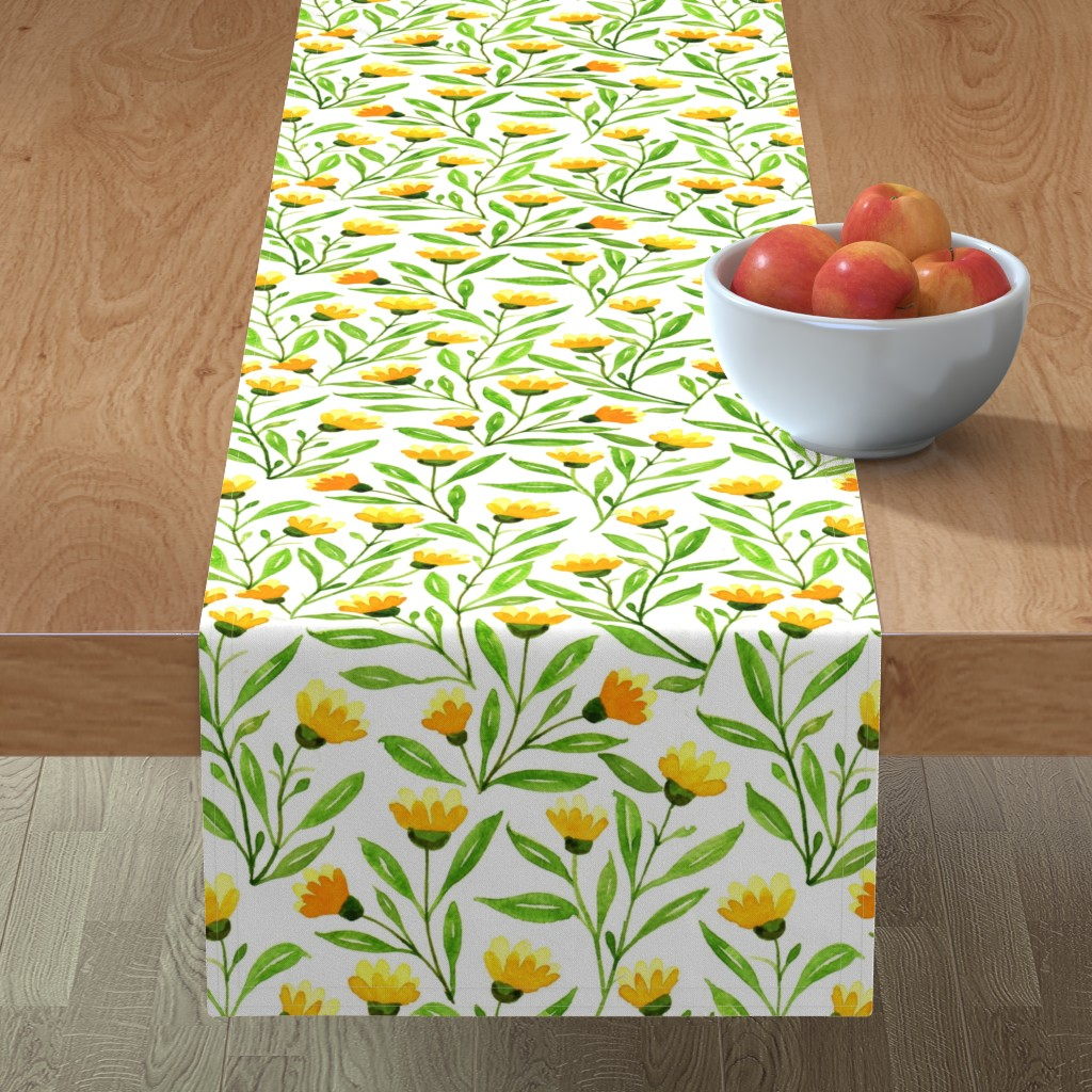 yellow meadow table runner