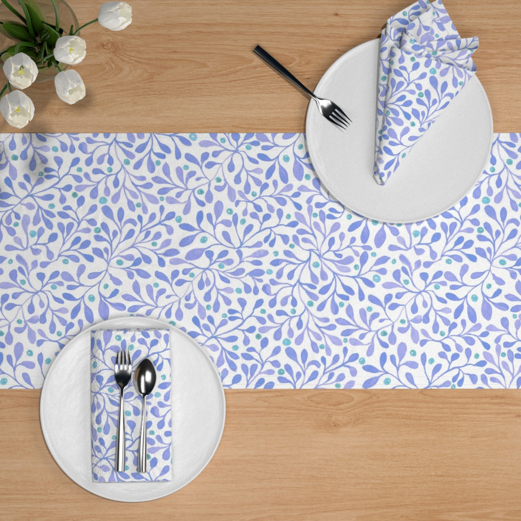 meadow berries blue table runner