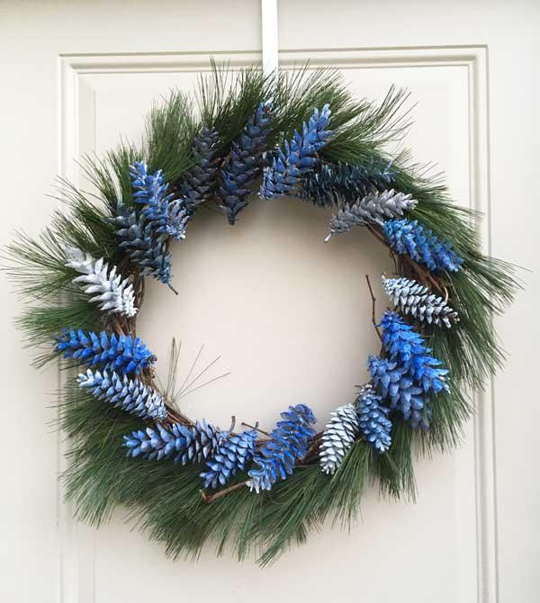 blue pine cone wreath
