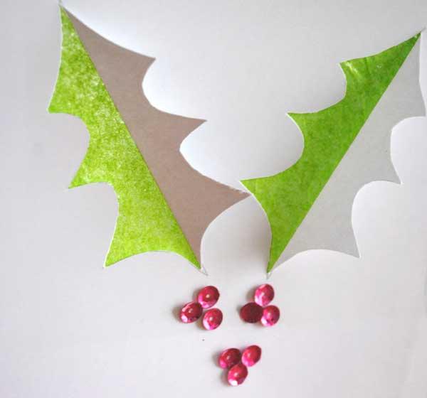 holly leaf christmas card