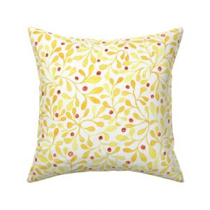 meadow berries throw pillow- yellow
