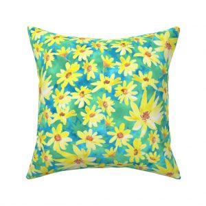 yellow prairier flowers throw pillow