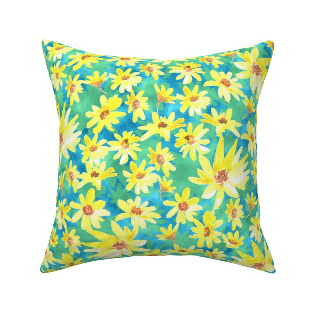 yellow prairier flowers throw pillow