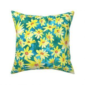 yellow prairie flowers throw pillow