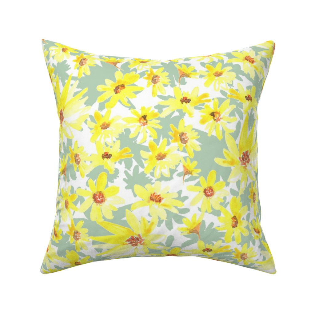 yellow prairie flowers throw pillow