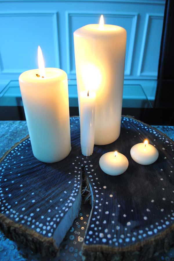 wood candle holders centerpiece