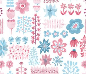 pretty in pink on white fabric