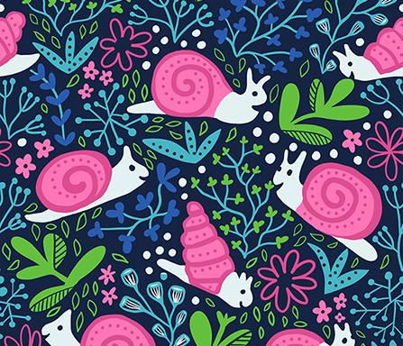 Happy snail fabric design