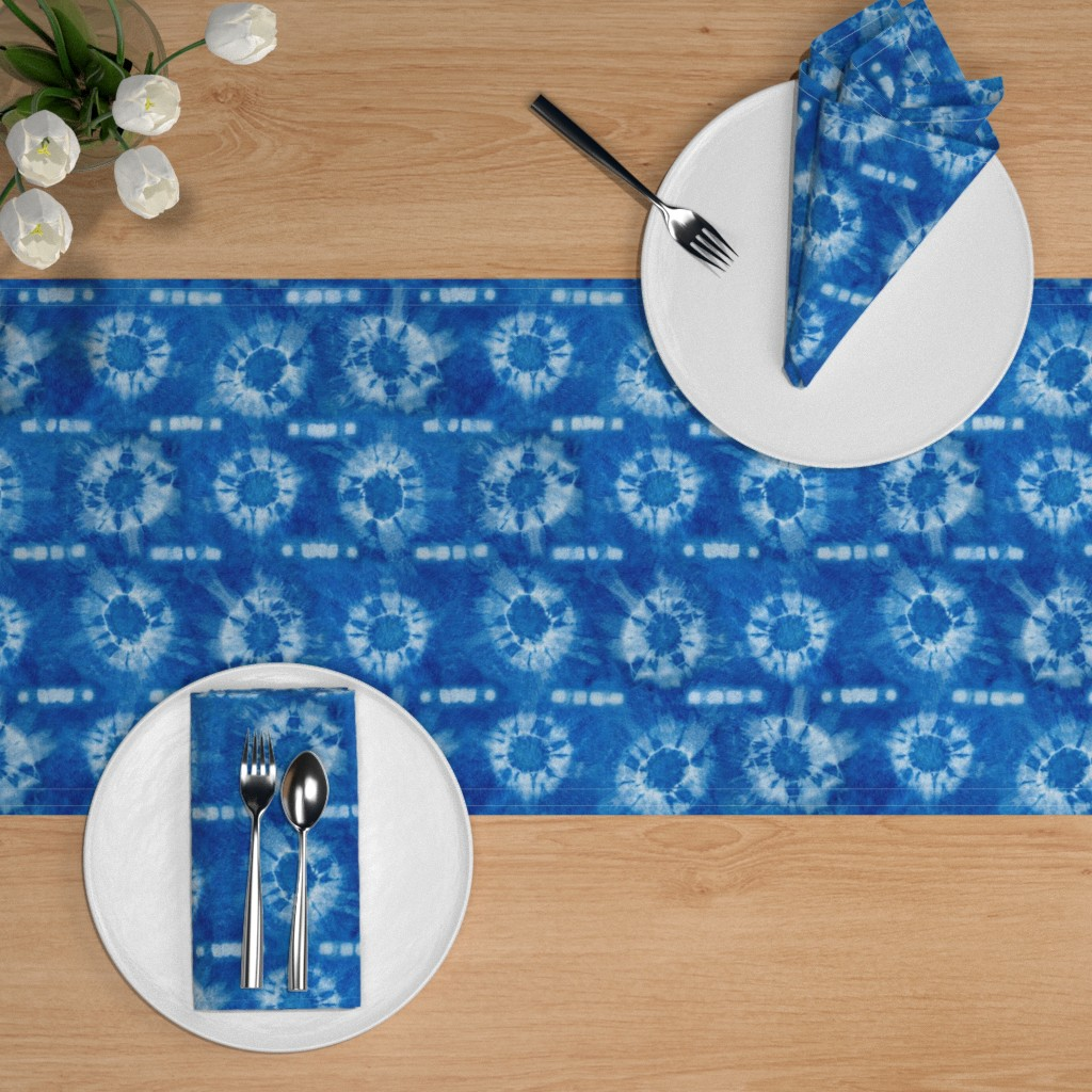 indigo flowers tie dye table runner