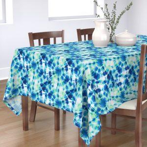 ink splat green tie dyre table cloth