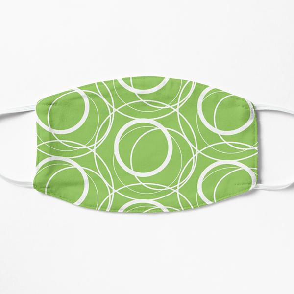 green abstract circles face mask