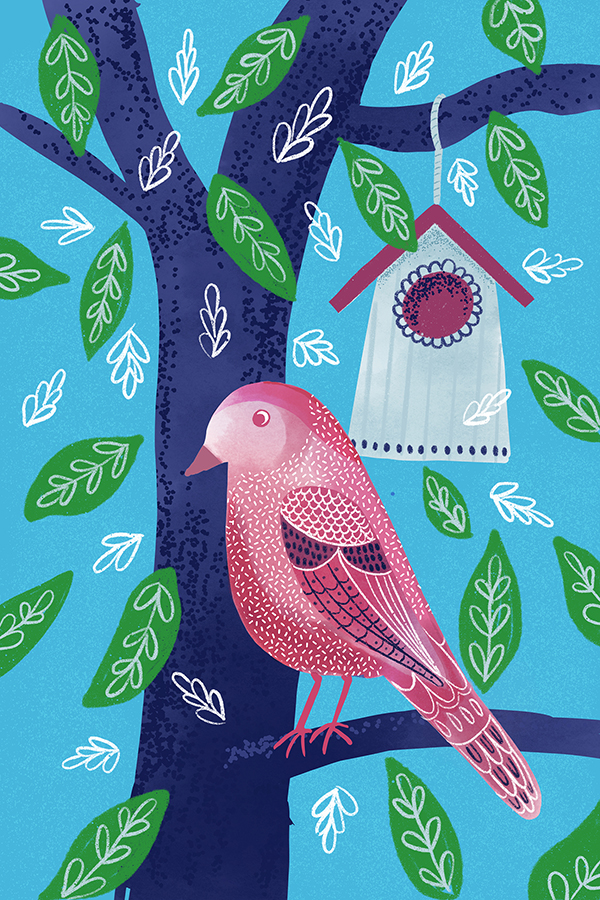 bird house lovely tea towel