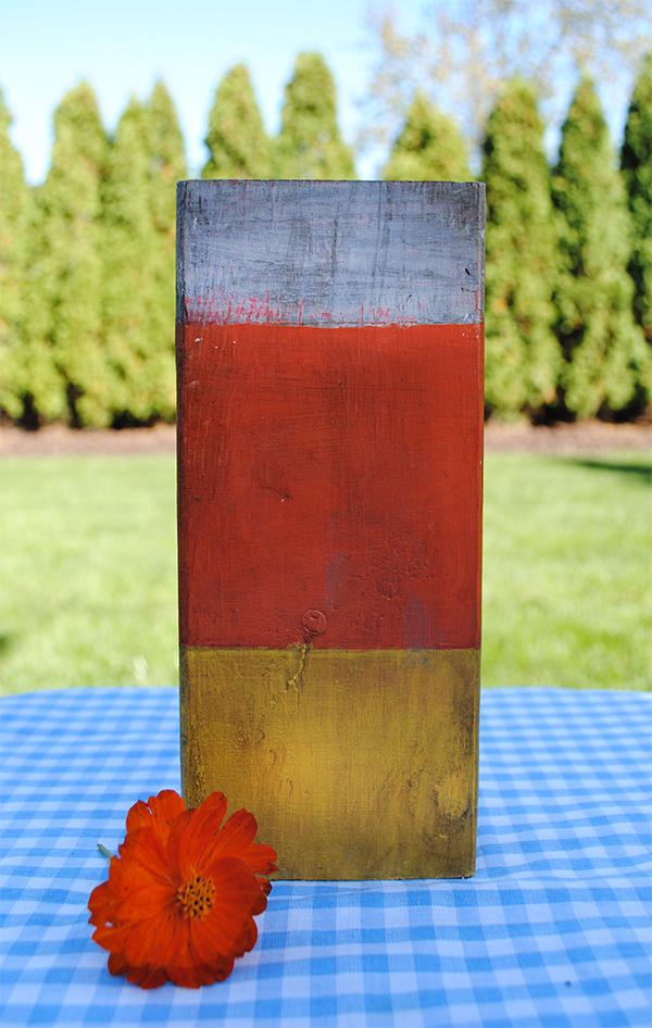 candy corn wooden block Halloween craft