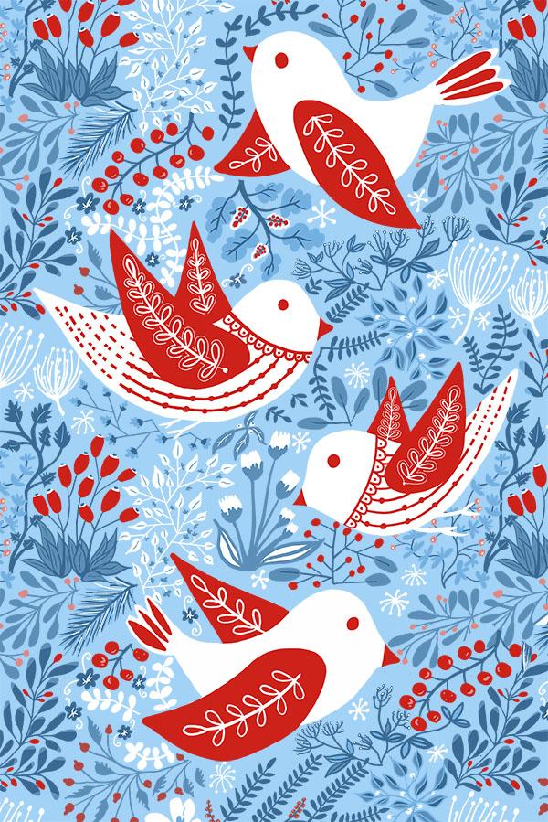 winter birds and berries tea towel